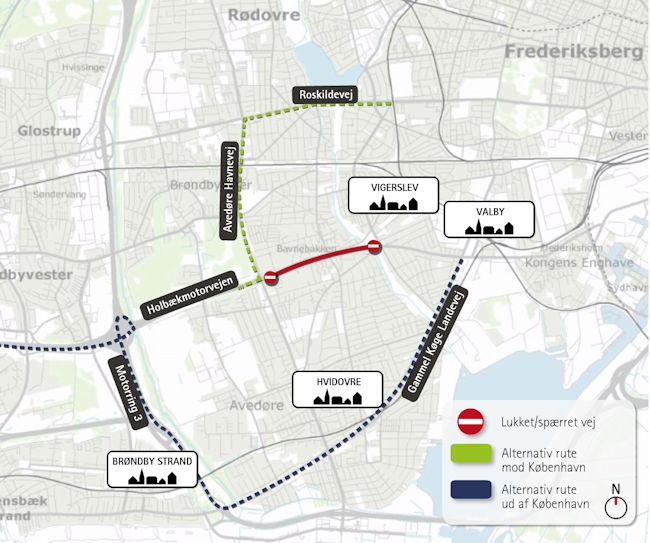 Grafik med omkørselsruter